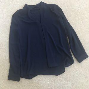 Ro & De Navy Long Sleeve Blouse in XS